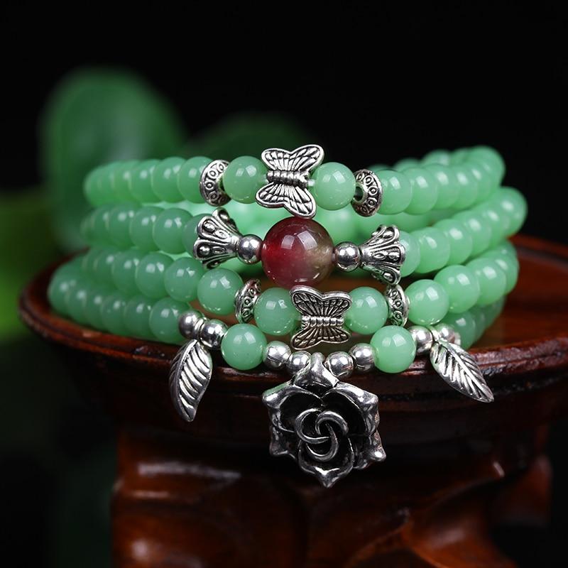 [해외]새로운 패션 6mm 녹색 옥수 비즈 티베트 불교 108기도 비즈 목걸이 조롱박라 말라 명상을위한기도 팔찌/New Fashion 6mm Green  Chalcedony Beads Tibetan Buddhist 108 Prayer Beads Necklace Gour