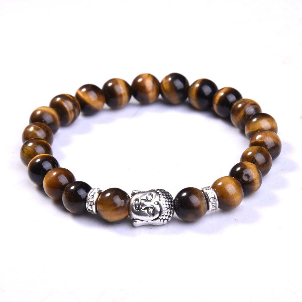[해외]인기있는 8mm 자연 라운드 스톤 타이거 아이 비즈 부처 팔찌 7 차크라 치유 Mala 명상기도 요가 여성 주얼리/Popular 8mm Natural Round Stone Tiger Eye Beads Buddha Bracelets 7 Chakra Healing