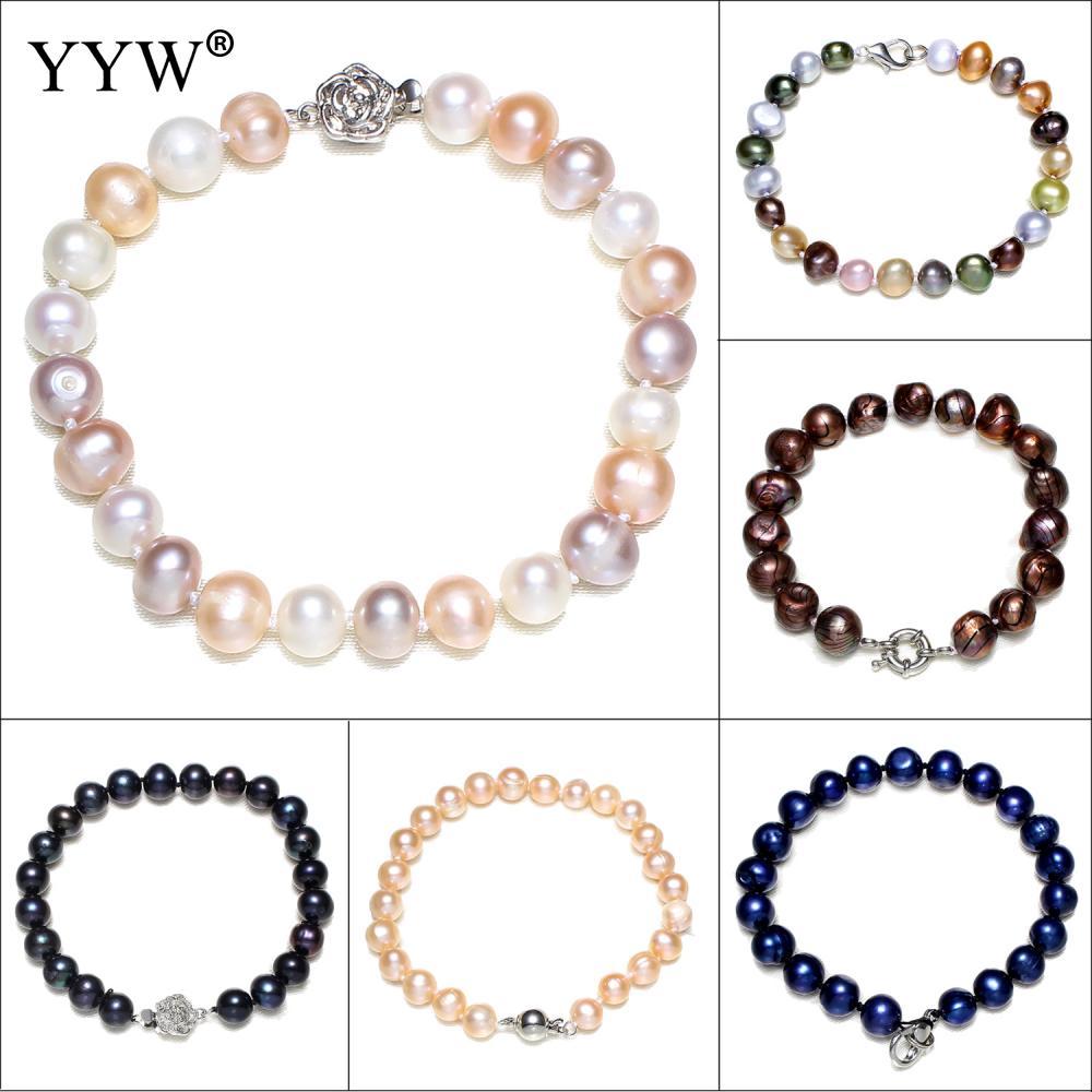 [해외]7-11 mm 100 % 자연 담 수 진주 팔찌 여성을보석 선물 멀티 컬러 바로크 핑크 화이트 진주 팔찌 & amp; 팔찌/7-11mm 100% Natural Freshwater Pearl Bracelets For Women Jewelry Gift Mul