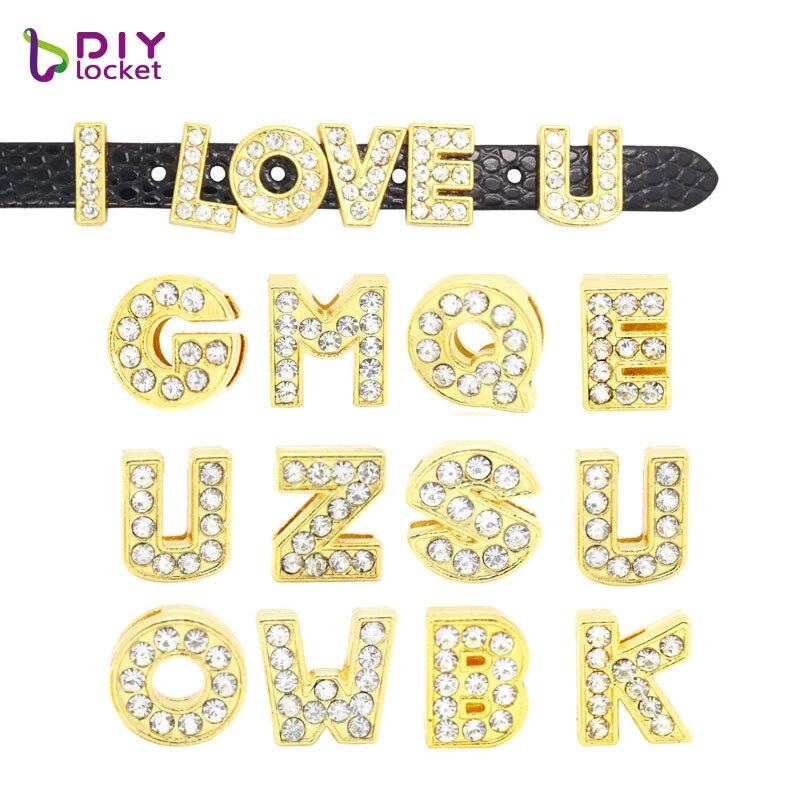 [해외]diylocket 8MM Gold Slide Letters A-N Can Choose Each Letters 20 pieces DIY Wristband & Bracelet rhinestone letters LSSL07*20/diylocket 8MM Gol