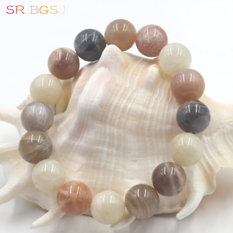 [해외] 6 8 10 12mm Round Mixed Sunstone Gems Natural Stone Handmade Stretchy Women Bracelet 7\