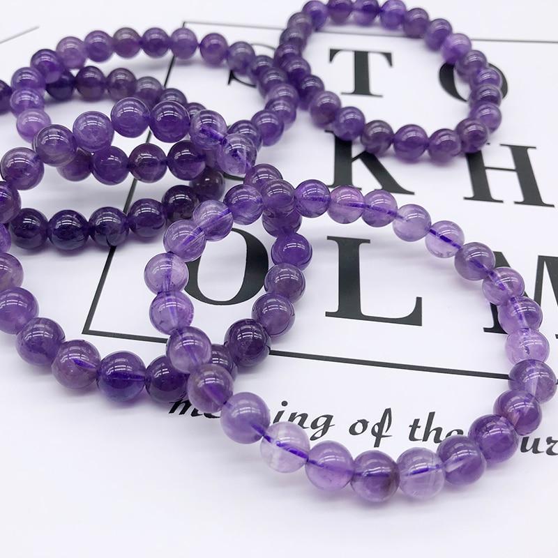 [해외] Beads Stone Bracelet Natural Violet Crystal Bracelet Women 8mm Round Charms Bracelets For Women/ Beads Stone Bracelet Natural Violet Crystal Brac