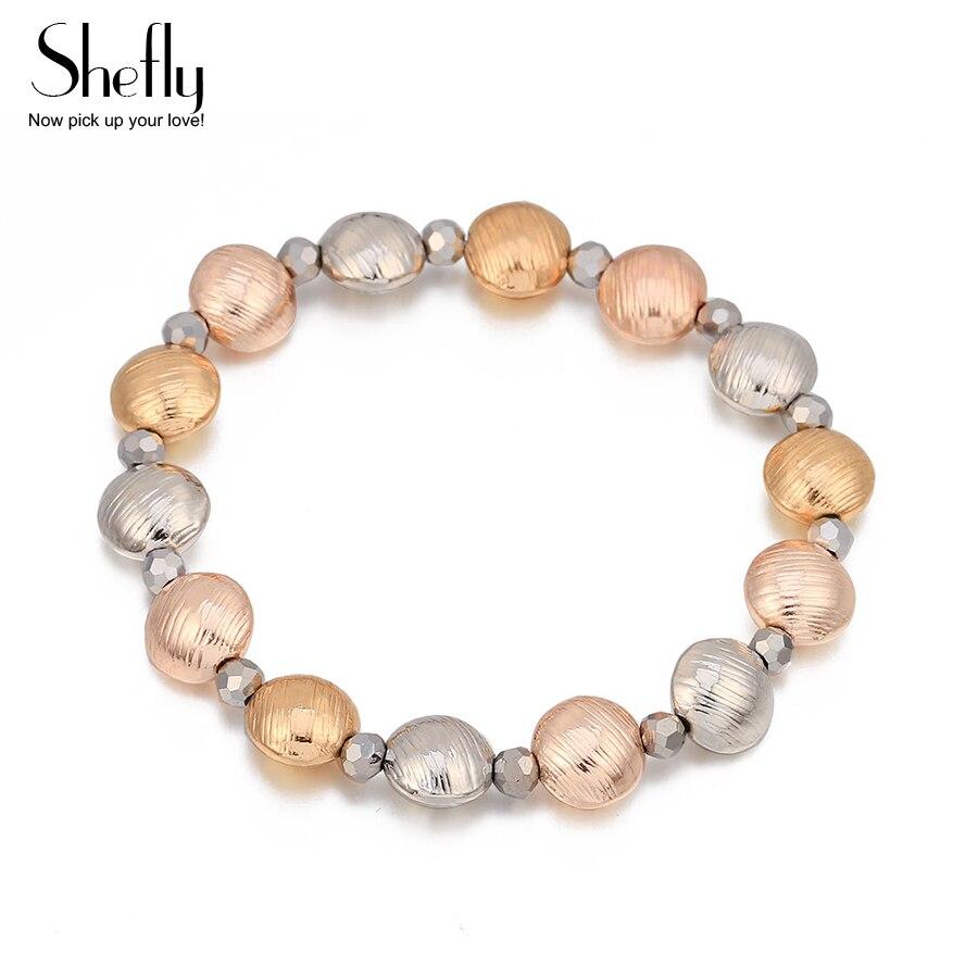 [해외]Women Beads Bracelets & Bangles 2018 Fashion Hand Jewelry Multi-Element Metal Round Gold Silver Pendant Bracelet For Girl Gift  /Women Beads B