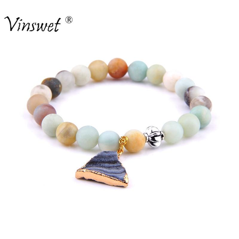 [해외]Fashion Natural Stone Amazonite Round Bead Bracelet Solid Crystal Druzy Charm Bracelet Bracelets for Women Men Jewelry/Fashion Natural Stone Amazo