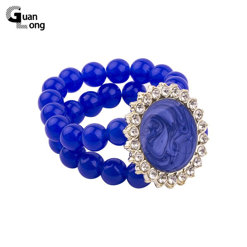 [해외]GuanLong Vintage Resin Cuff Bracelets Bangles for Women Fashion Stretch Round Blue Beads Acrylic Bracelet Simple Charm Jewelry  /GuanLong Vintage