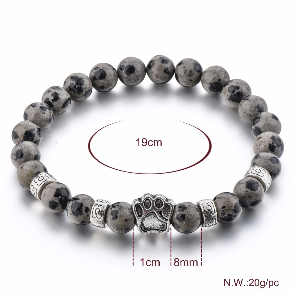 [해외]LongWay SBR190005 8MM Beads Elatic Bangles Grey Stone Natural Dog Paw Beaded Beads Bracelets For Women & Men/LongWay SBR190005 8MM Beads Elati