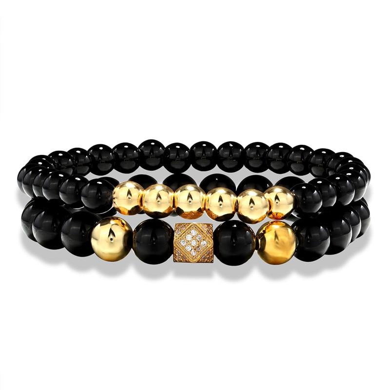 [해외]2 pieces / set of charm beaded bracelets away from natural stone beaded bracelets men and women friends jewelry gifts/2 pieces / set of charm bead