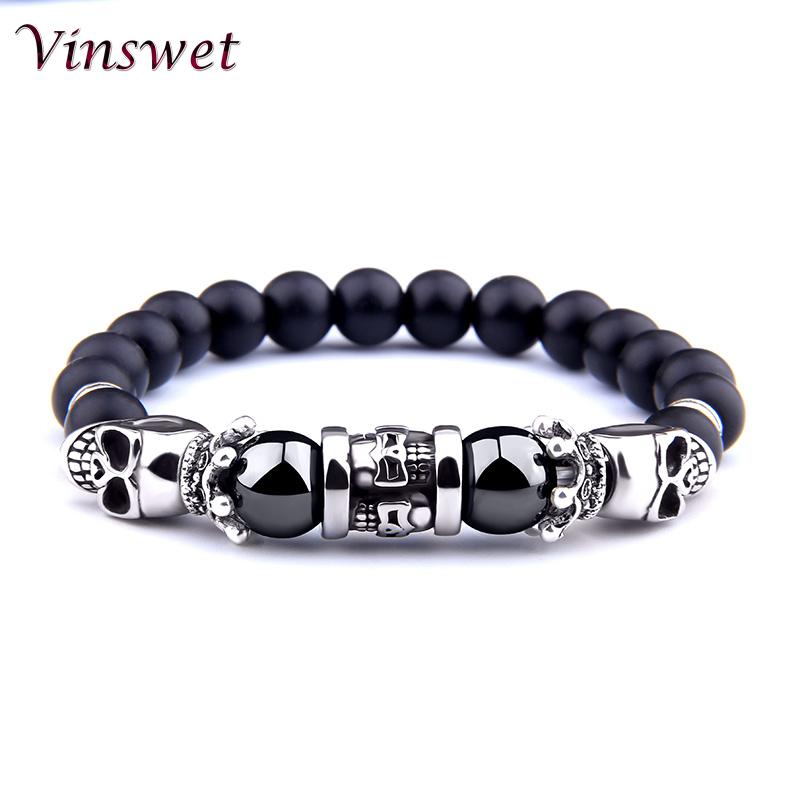 [해외]Vinswet Black Trendy  Mans Bracelet Skull Skeleton Charm Bracelet Hematite Onyx Rock Bracelet  For Men Male Jewelry Bracelets/Vinswet Black Trendy