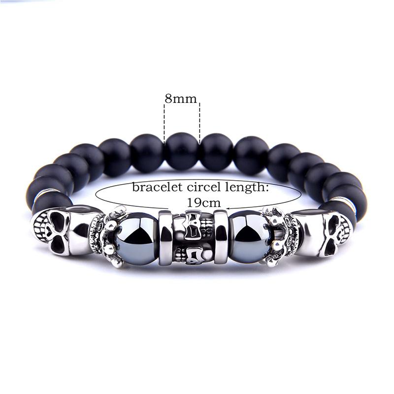 [해외]High  Quality Skull Onyx Bracelet Black Hematite Natural Stone  Charm Elastic Rope Bracelets Jewelry Gifts for Women Men Lovers /High  Quality Sku