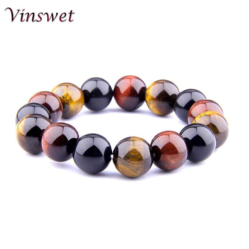 [해외]Vinswet Trendy Bracelet 10mm Tiger eye Beads Bracelet Men Charm Natural Stone Braslet For Man Handmade Casual Jewelry Pulseras/Vinswet Trendy Brac