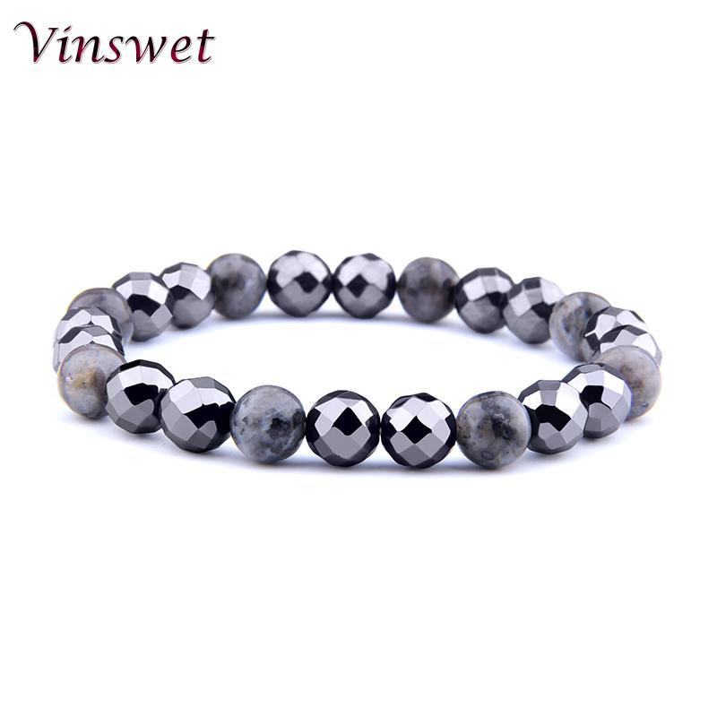 [해외]Vinswet Natural Black Hematite&labradorite Stone Beads Bracelets Bangles Women OM Charm Men Wristband Jewelry Pulsera Hombres/Vinswet Natural