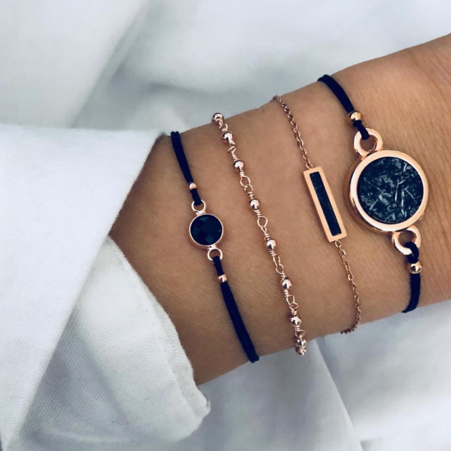 [해외]2019 New Bohemian Marble Stone Beads Bracelet Set For Women Natural Stone Pendant Bangles Bracelet Femme Jewelry Gift Wholesale/2019 New Bohemian