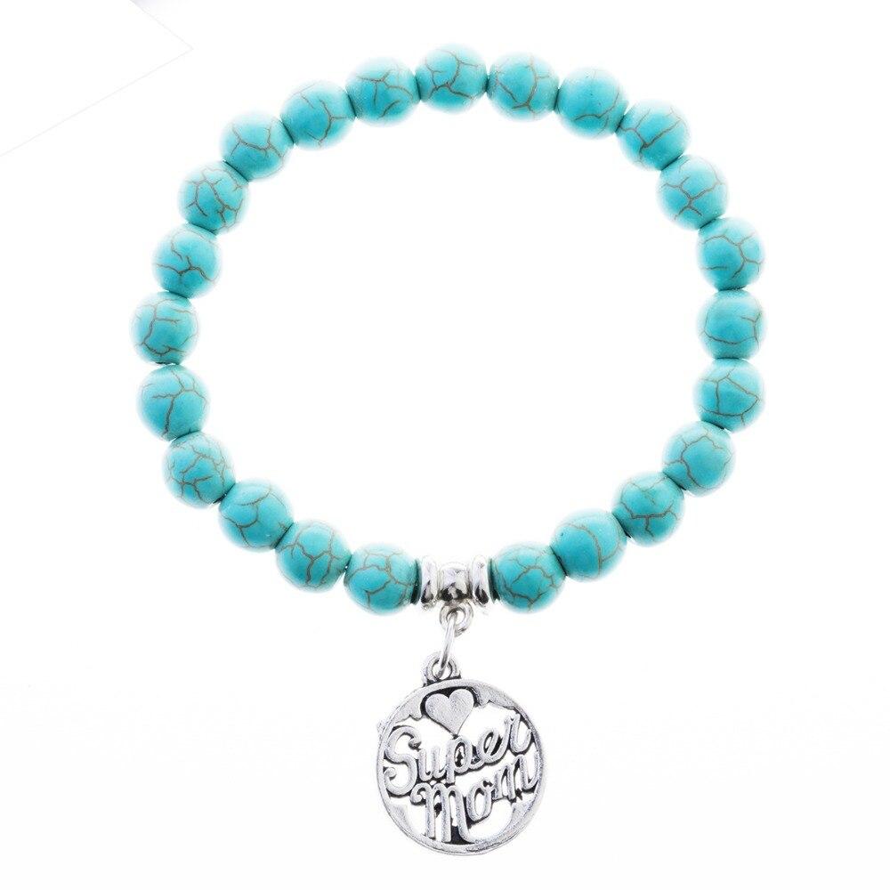 [해외]12PC Wholesale  Mom Green Natural Turquoises Stone Bracelet Strand Beads Jewelry For Family Mother Mommy Gifts Charm/12PC Wholesale  Mom Green Nat