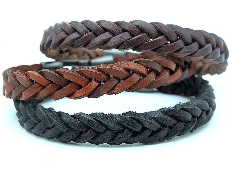 [해외]Men`s Vintage Genuine Leather Braid Bracelets Handmade Stylish Leather Wristband Cuff Bracelet Jewelry Brown Black Stock/Men`s Vintage Genuine Lea