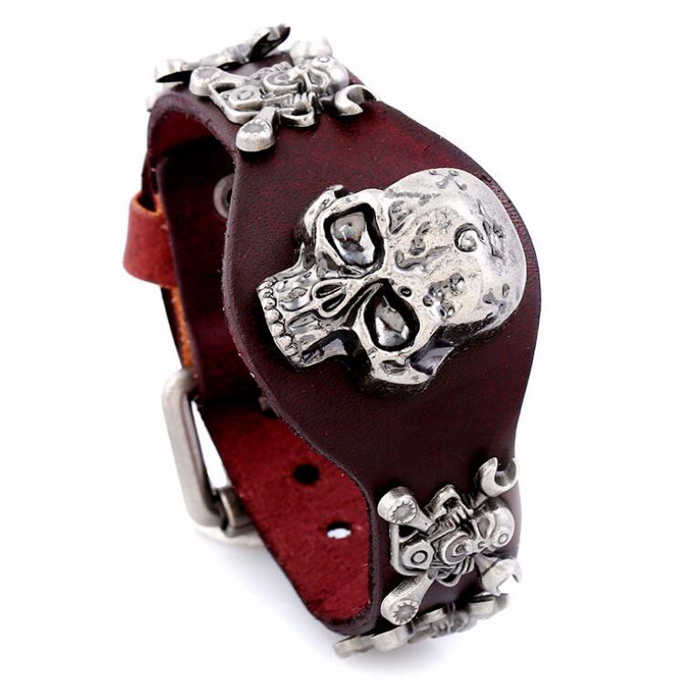 [해외]Gothic Punk Vintage Antique Silver Skull Rivet Wide Leather Cuff Bracelets Alloy Skeleton Charms Fashion Wristbands Belt Bangles/Gothic Punk Vinta