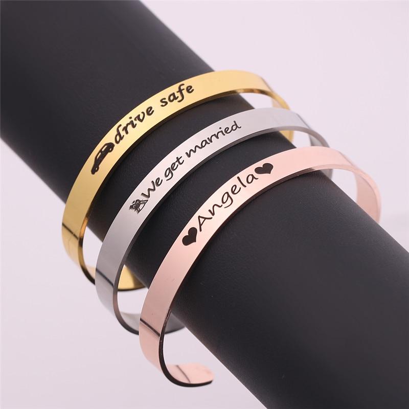 [해외]Customize Personalised Gifts Bangles Engrave Name LOGO Naam Armband Bracelets Stainless Steel Cuff Pulseira For Man Woman/Customize Pers