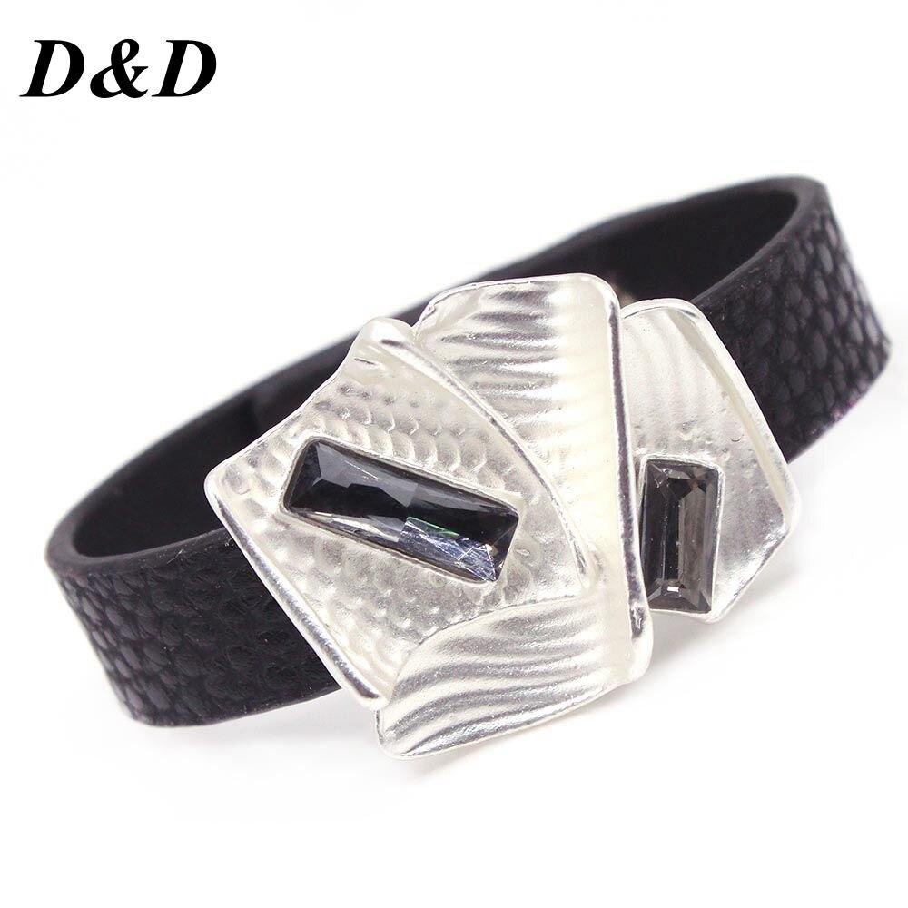 [해외]D&D Bracelets Winding Wrap Leather Bracelet Fashion Women Hand Jewelry Summer Accessories for Female in Black color/D&D Bracelets Windin