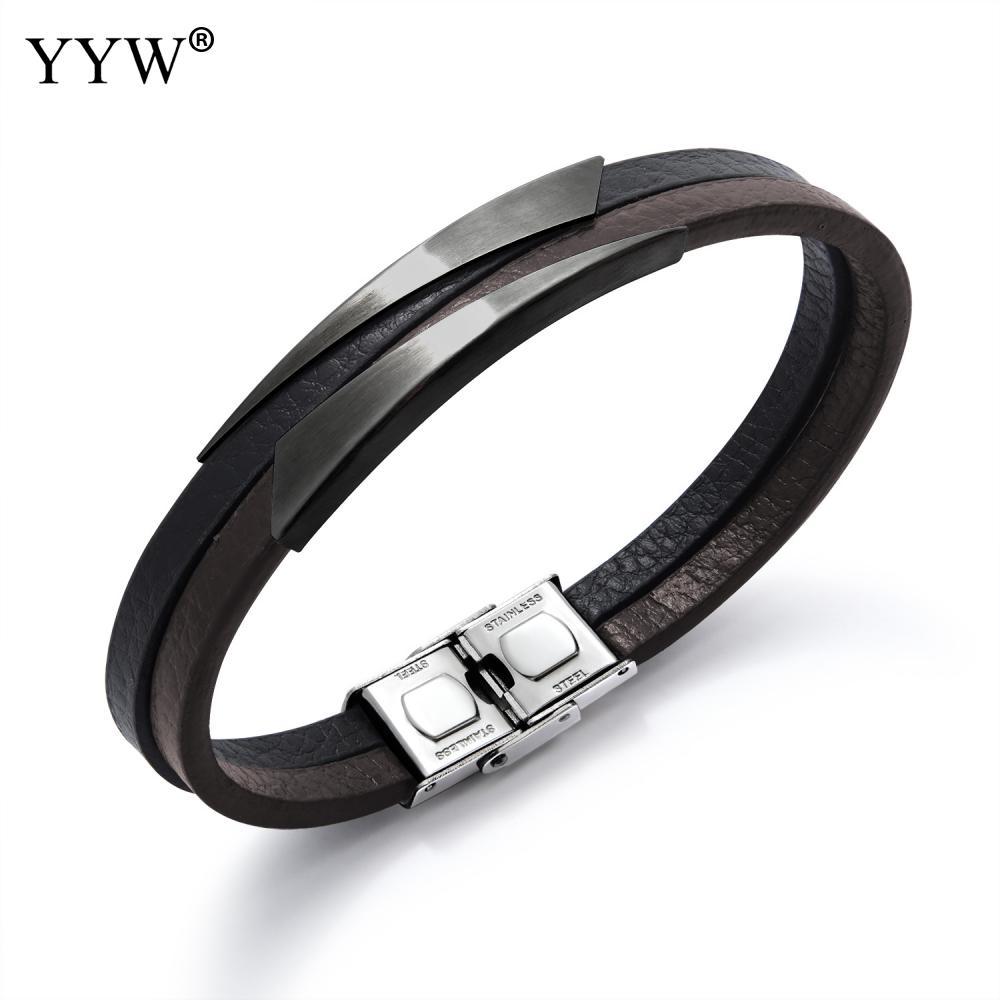 """[해외]남자에 대 한 패션 티타늄 강철 팔찌 펑크 팔찌 가죽 팔찌 쥬얼리 2018 팔찌 유행 남성 팔찌 8 """"/Fashion Titanium Steel Bracelet For Men Punk Bracelet Leather Bangle Jewelry 2018 N"""