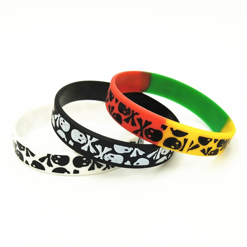 [해외]3PCS 새로운 캐주얼 해골 실리콘 팔찌 3 색 스포츠 고무 팔찌 & Bangles Hiphop 해골 매력 Armbands 선물 SH272/3PCS New Casual Skull Silicone Wristband 3 Colors Sports Rubber