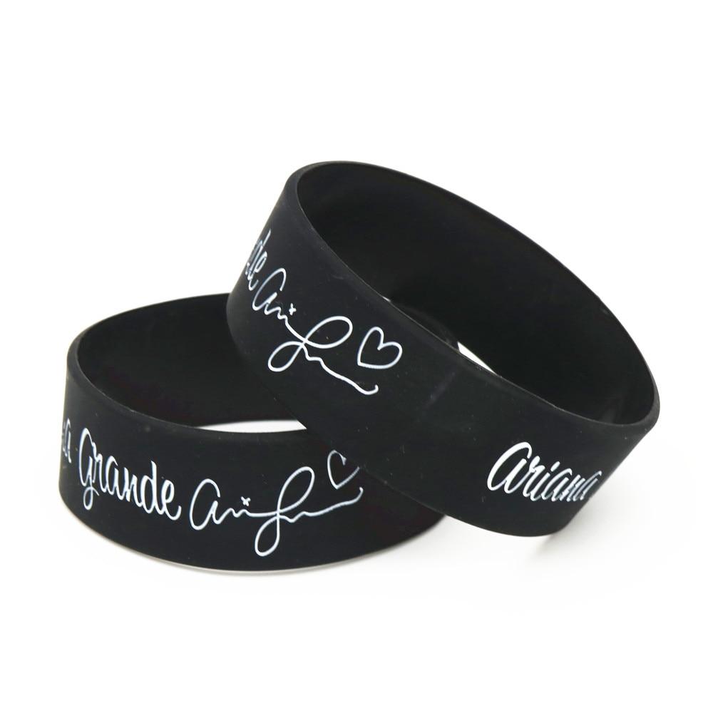 [해외]1PC 하나 Banda 하우스 와이드 밴드 뮤직 스타 고무 팔찌 & 팔찌 와이드 블랙 아리아나 그란데 실리콘 팔찌 팬 선물 SH212/1PC One Banda House Wide Band Music Star Rubber Bracelets&Bangl