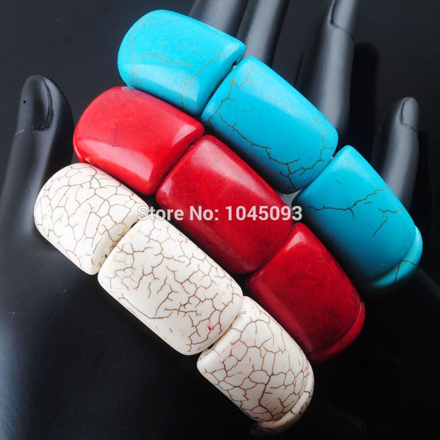 [해외]/YOWOST  Howlite Gem Stone 20x29x9mm Beads Stretch Bracelet 7 Inches Jewelry QBK303