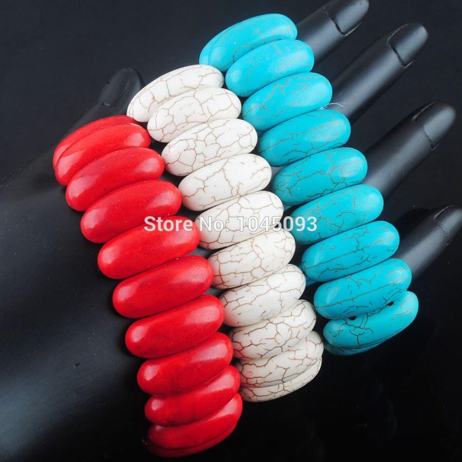 [해외]/YOWOST  Howlite Gem Stone 10x25mm Beads Stretch Bracelet 7 Inches Jewelry QBK302