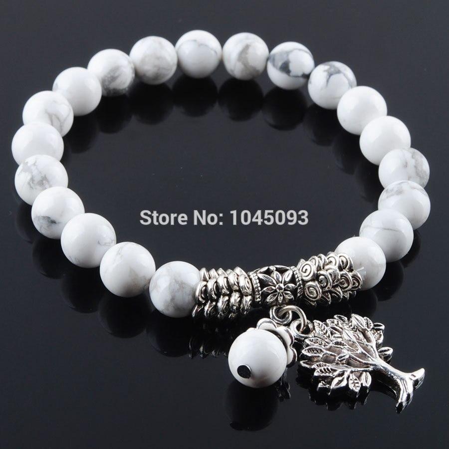 [해외]/YOWOST Natural White Turquoises Gem Stone Bracelet Mala Beads Tree Of Life Charms Meditation Ethnic Jewelry QK3220