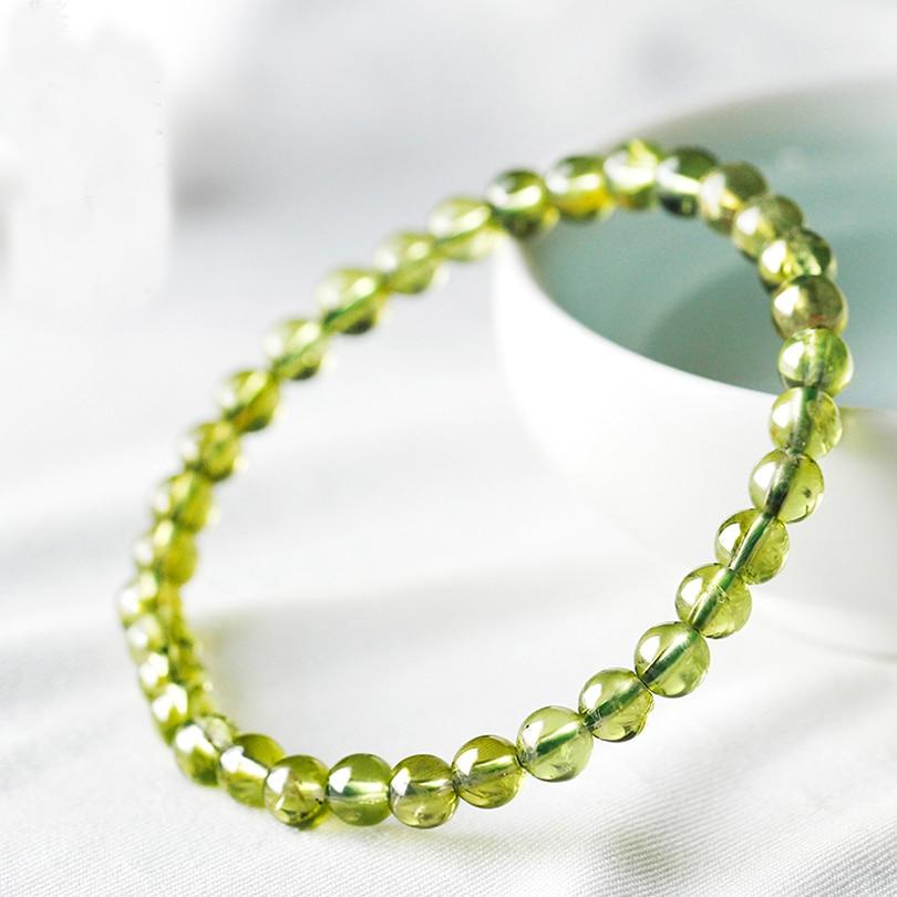 [해외]/No Dye 3.8-4.5mm Hologram Yellow Green Peridot Bracelet Treat Olivine Stone Men Women Bracelet Healing Energy Gift Lucky Jewelry