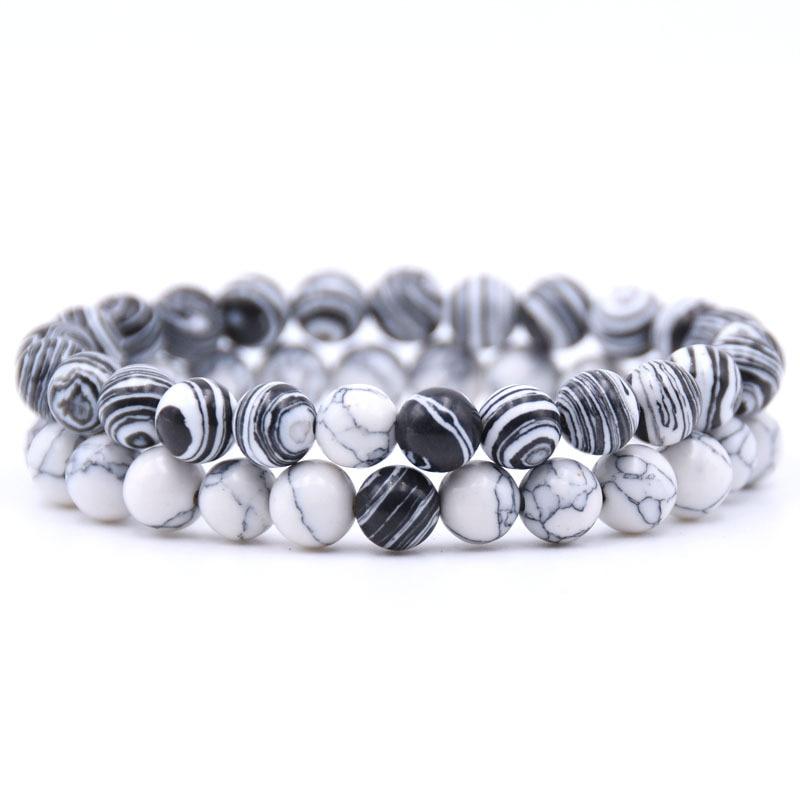 [해외]/2Pcs/Set Couples Jewelry Classic Distance charm Bracelet Bangle For Men Black Lava Beaded Bracelets Matching Yin Yang Gift