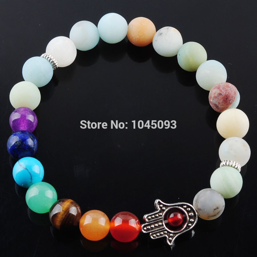 [해외]YOWOST Amazonite Stone Round Beads Palm Bracelets 7 Chakra Healing Mala Meditation Prayer Yoga Women Jewelry QK3260/YOWOST Amazonite Stone Round B