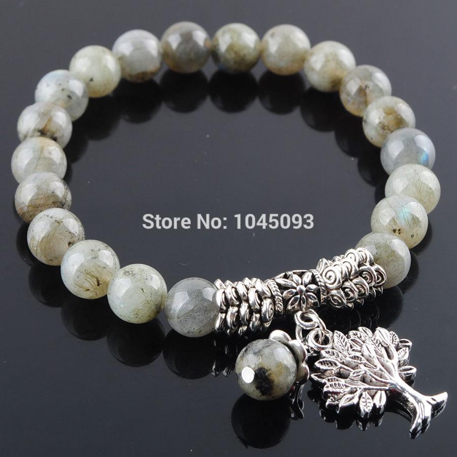 [해외]YOWOST Natural Labradoirte Gem Stone Bracelet Mala Beads Tree Of Life Charms Meditation Ethnic Jewelry QK3217/YOWOST Natural Labradoirte Gem Stone