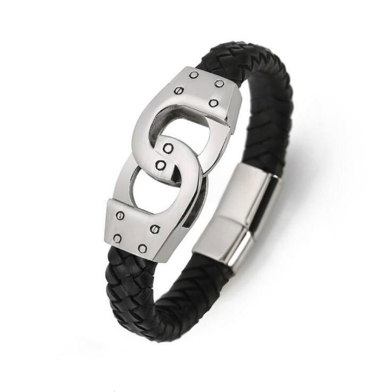 [해외]Titanium Steel Bracelet Men Leather Bracelet Europe and America 316 Stainless Steel Leather Handcuffs Shapes Bracelets/Titanium Steel Bracelet Men