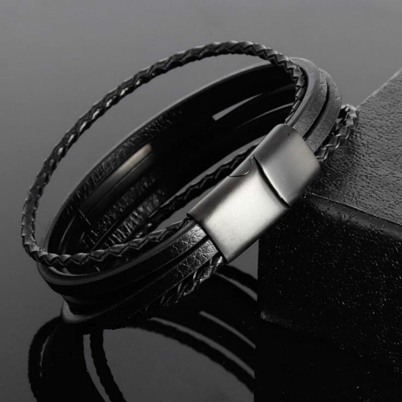[해외]Titanium Steel Leather Bracelet Stainless Steel Woven Leather Multilayer Jewelry Fashion Men Scrub Black Jewelry/Titanium Steel Leather Bracelet S