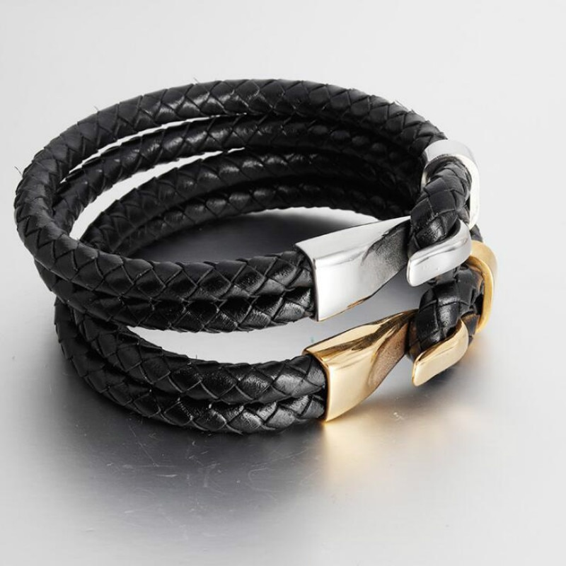 [해외]Men`s two-layer stainless steel leather woven bracelet handmade metal multi-layer leather bracelet jewellery/Men`s two-layer stainless steel leath