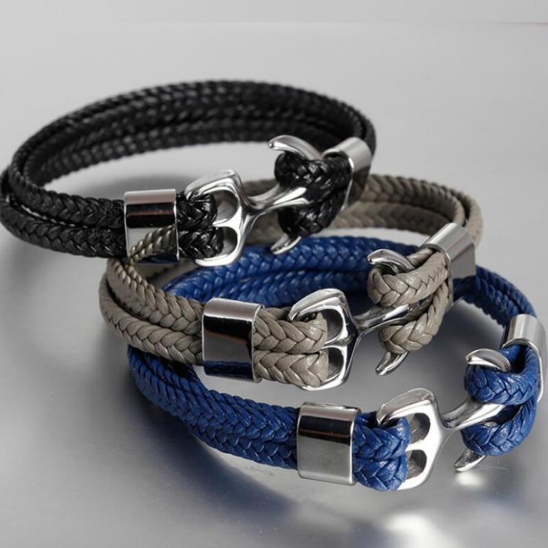 [해외]Men`s Stainless Steel Boat Anchor Bracelet Vintage Woven Leather Cord Multilayer Leather Bracelet Couple Bracelet/Men`s Stainless Steel Boat Ancho