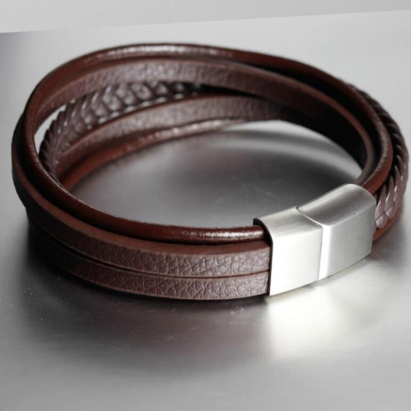 [해외] Handmade Bracelet Leather Woven Multilayer Uni Leather Bracelet Retro Stainless Steel Magnetic Buckle Leather Cord/ Handmade Bracelet Leather Wov
