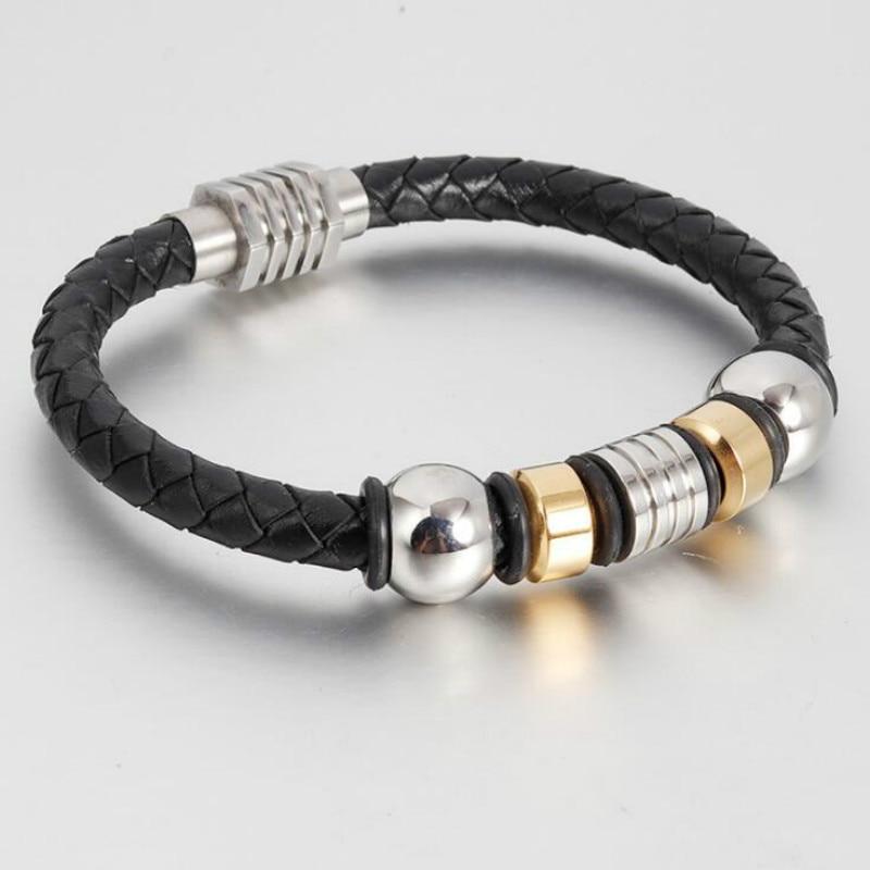 [해외]Woven leather bracelet men`s leather Europe and America leather stainless steel leather bracelet jewelry/Woven leather bracelet men`s leather Euro