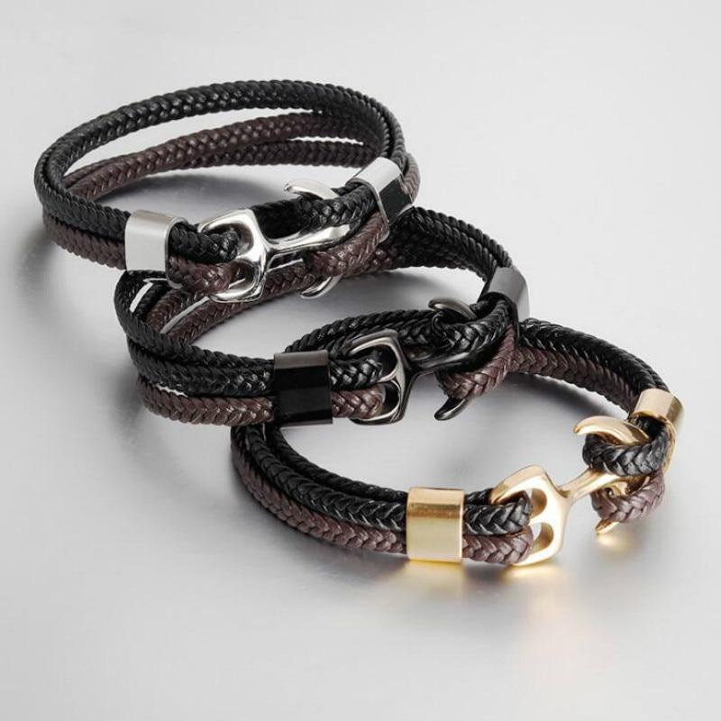 [해외]Men Leather Bracelet Stainless Steel Titanium Steel Anchor Hook Bracelet Vintage Woven Leather Multilayer Couple Bracelet /Men Leather Bracelet St
