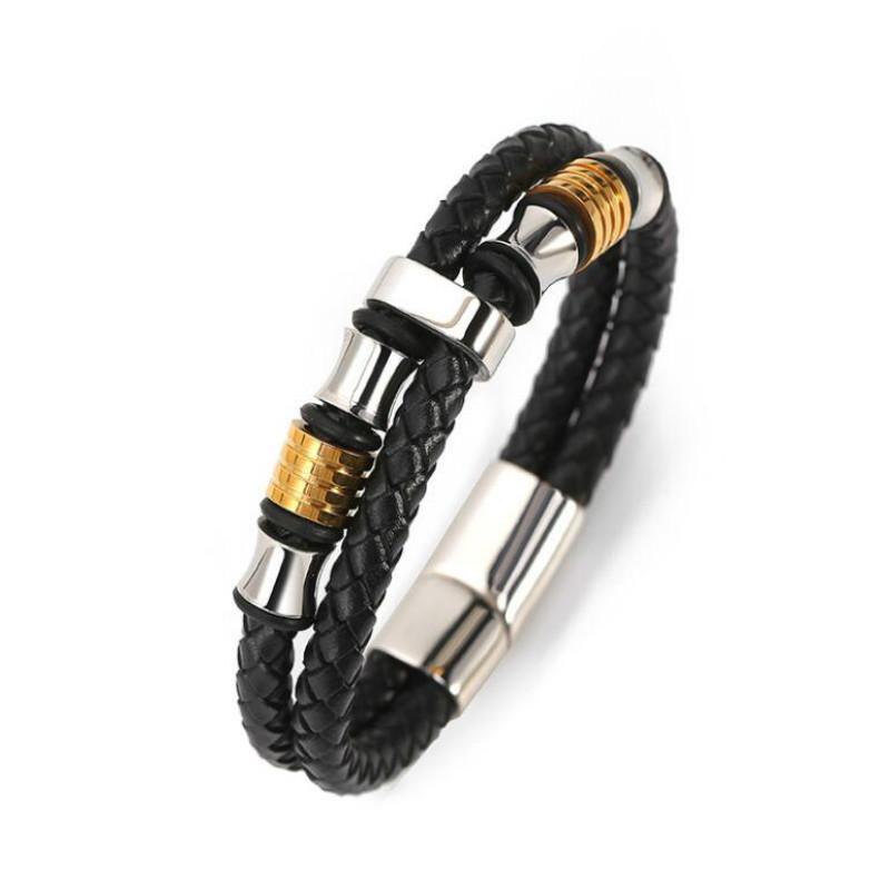 [해외]Leather rope leather men `s double stainless steel leather woven bracelet handmade multi - layer leather bracelet jewellery/Leather rope leather m