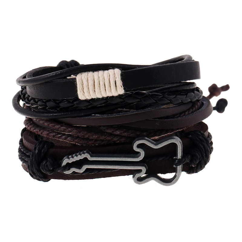 [해외]New 3/4pcs/Set Vintage Multiple Charm Bead Bracelet For Men Women Fashion Wristband Leather Bracelets Bangle  guitar/New 3/4pcs/Set Vintage Multip