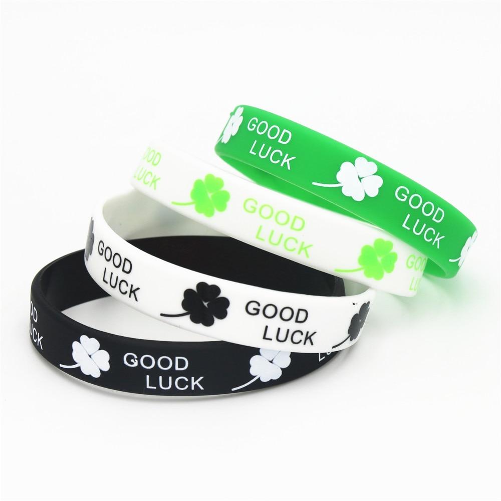 [해외]4 piezas nuevos deportes trebol de la buena suerte pulsera de silicona negro blanco verde deja las pulseras y brazaletes de goma ninas ninos regal