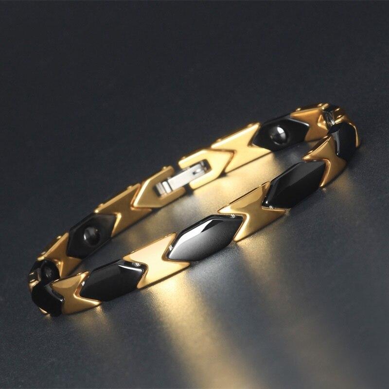 [해외]금색과 검은 색 건강 에너지 팔찌 세라믹 적철광 균형 팔찌 높은 전원 자석 자기 에너지 치료/금색과 검은 색 건강 에너지 팔찌 세라믹 적철광 균형 팔찌 높은 전원 자석 자기 에너지 치료