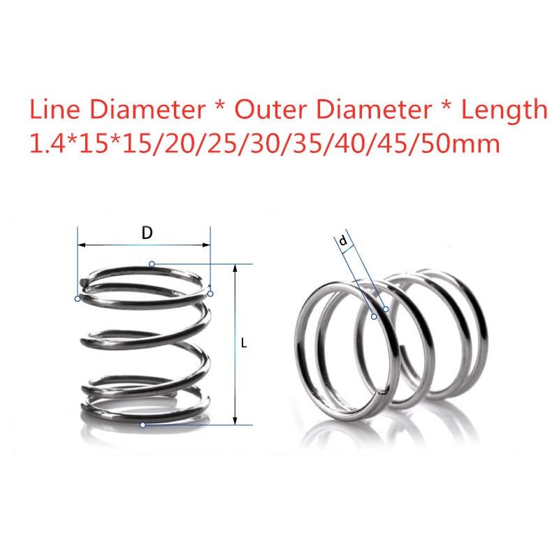 [해외]10pcs 304 stainless steel spring pressure spring short compression  spring Wire diameter 1.4* outside diameter 15* length 15-50/10pcs 30