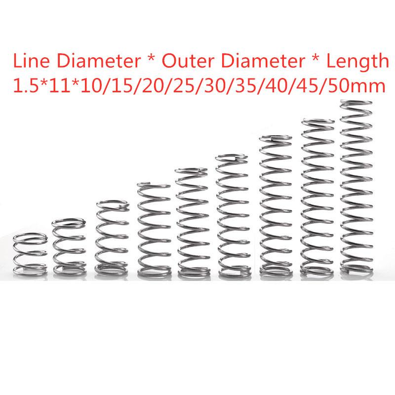 [해외]10pcs 304  pring short compression Wire diameter 1.5* outside diameter 11* length 10-50/10pcs 304  pring short compression Wire diameter