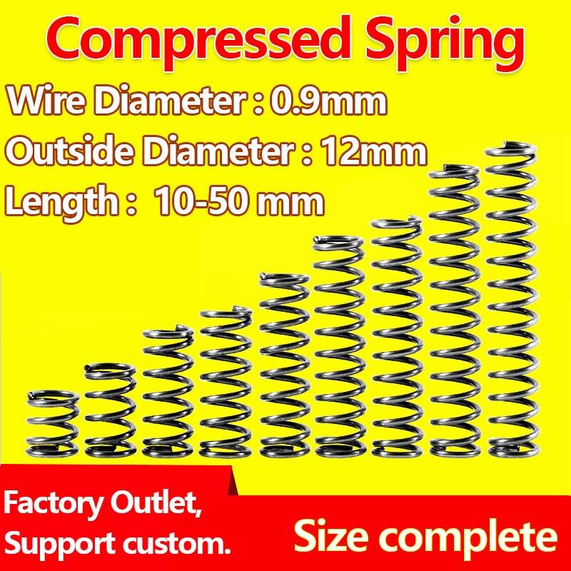 [해외]Pressure Spring Wire Diameter 0.9mm, Outer Diameter 12mm Compressed Spring Return Spring Release Spring Mechanical Spring/Pressure Sprin