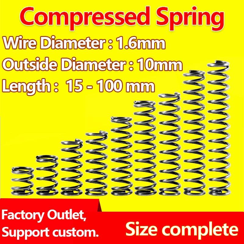 [해외]Compressed Spring Pressure Spring Return Spring Release Spring Wire Diameter 1.6mm/Outer Diameter 10mm Widely Size/Compressed Spring Pre