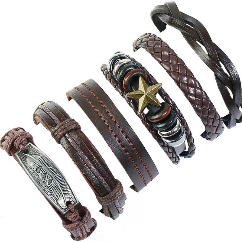 [해외]Punk Fashion Charm Genuine Leather Bracelets Set Rock Alloy Star Feather Weave Handmade Wristbands Women Wrap Bangle Men Jewelry/Punk Fashion Char