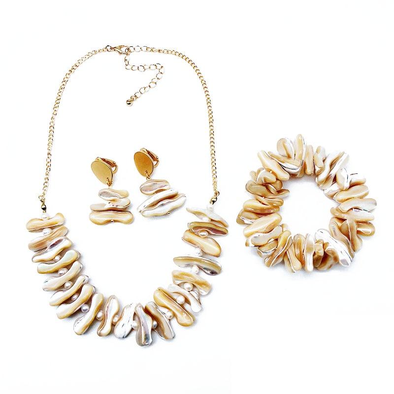 [해외] Elegant Shell Pearl Charm Necklace Bracelet Earring Jewelry Set/ Elegant Shell Pearl Charm Necklace Bracelet Earring Jewelry Set