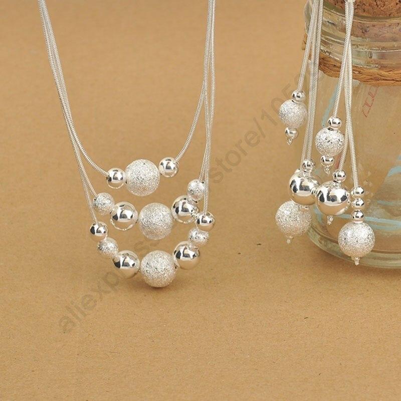 [해외]JEXXI Elegant 925 Sterling Silver Woman Jewelry Set, Fashion 3 LayeredCharming Beads Balls Necklace Dangle Earrings/JEXXI Elegant 925 Sterling Sil