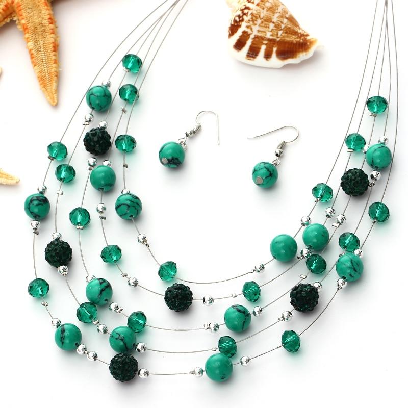 [해외]ZOSHI Bohemian Style African Beads Jewelry Sets For Women Silver Plated Multilayer Chain Necklace Earrings Sets Crystal Jewelry/ZOSHI Bohemian Sty